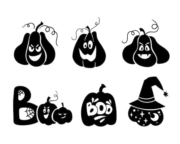 Halloween hemelse pompoen geïsoleerde clipart magische pompoen silhouet griezelig gesneden pompoen gezicht