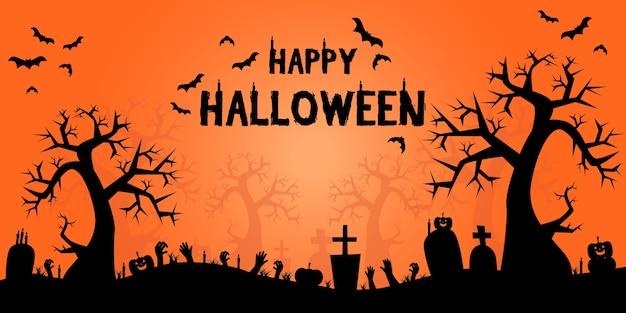 Halloween-het beeldverhaal van het silhouetkader banner als achtergrond