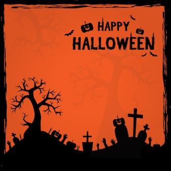 Halloween-het kaderbeeldverhaal van de silhouetkader affiche als achtergrond