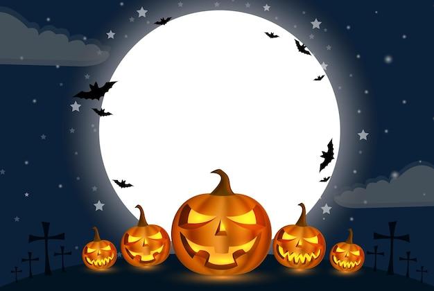 Halloween holidays kalebas kalebas voor de grote maan met een wolk eronder
