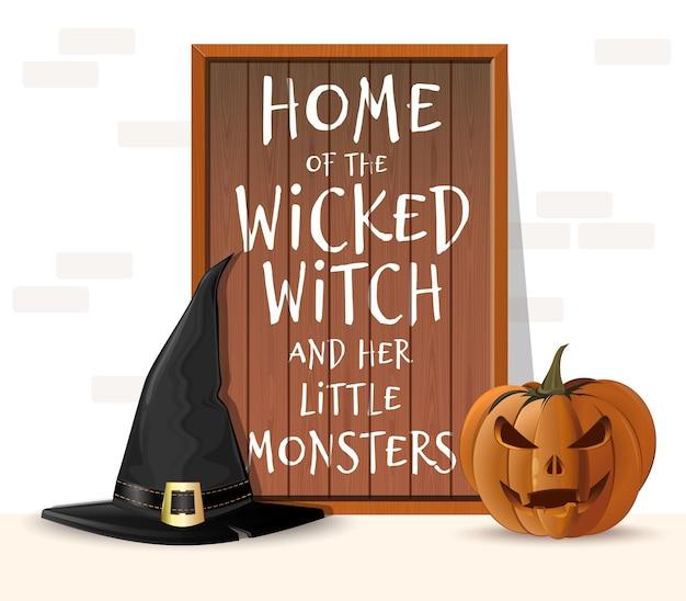 Halloween houten bord. huis van de boze heks en haar kleine monsters. halloween