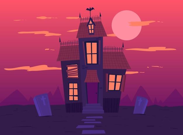 Halloween huis hand getekend ontwerp