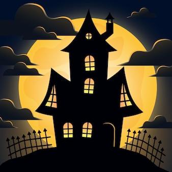 Halloween-huis in plat ontwerp