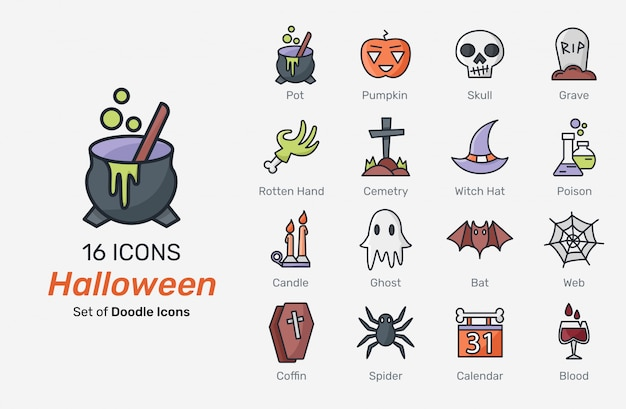 Halloween iconen collectie