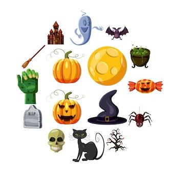 Halloween iconen set, cartoon stijl