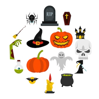Halloween iconen set, vlakke stijl