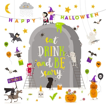 Halloween-illustratie groep actieve halloween-personages rond een gigantische grafsteen