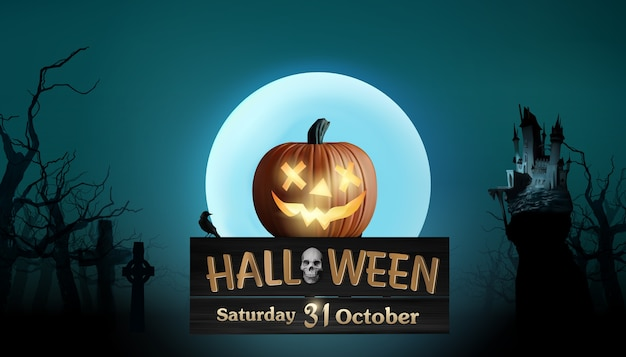 Halloween-illustratie met enge pompoen en volle maan