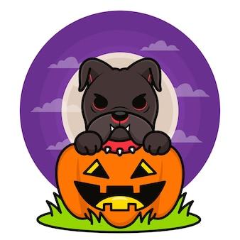 Halloween-illustratie met schattige zwarte bulldog