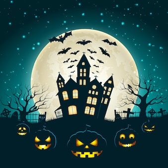 Halloween-illustratie met silhouet van kasteel bij gloeiende maan en dode bomen dichtbij begraafplaatskruisen vlak