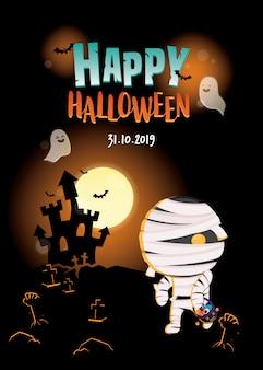 Halloween-illustratie pompoen met trick or treat-mand op donkere kasteelscène. halloween uitnodigingskaart.