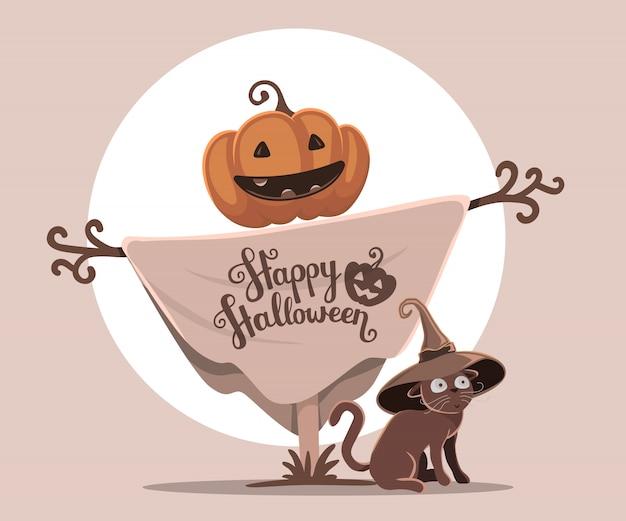 Halloween-illustratie van decoratieve vogelverschrikker met oranje pompoenhoofd en kat