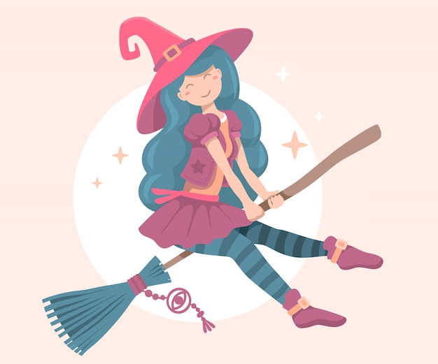 Halloween-illustratie van heksenkarakter met hoed die op een bezemsteel vliegen