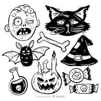 Halloween-in hand getrokken stijl van de elementeninzameling