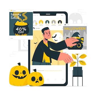 Halloween instagram feed concept illustratie