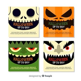 Halloween instagram postverzameling met close-upgezichten