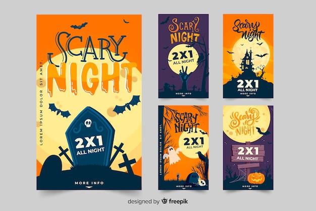 Halloween instagram postverzameling met griezelige elementen