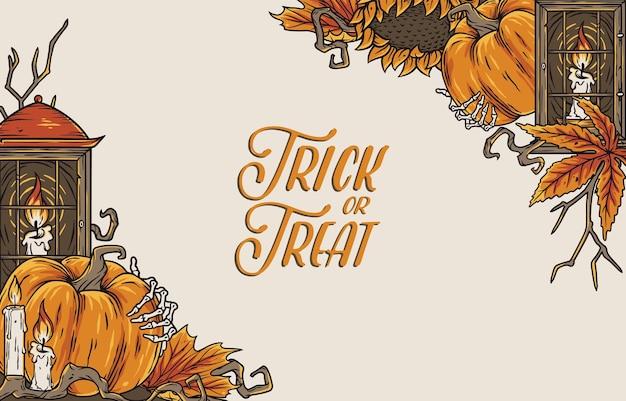 Halloween-kaars en pampkin-feestvakantieontwerp