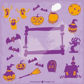 Halloween kaart decorarion vector