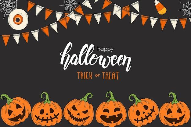 Halloween-kaart met hand getrokken gekleurde pompoenen jack, snoepwortels en feestelijke slingers. schets, belettering -