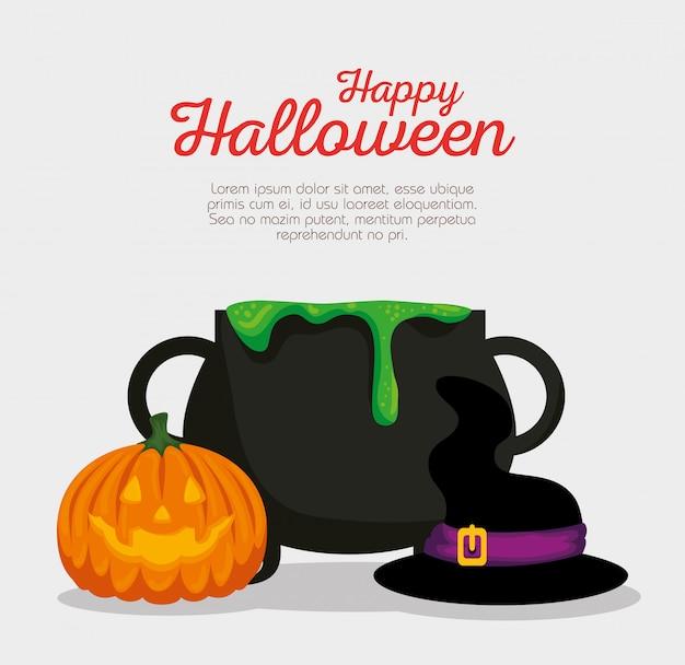 Halloween-kaart met ketel en pompoen