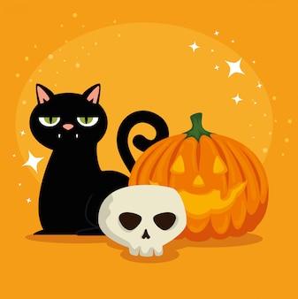 Halloween-kaart met pompoen en schedel