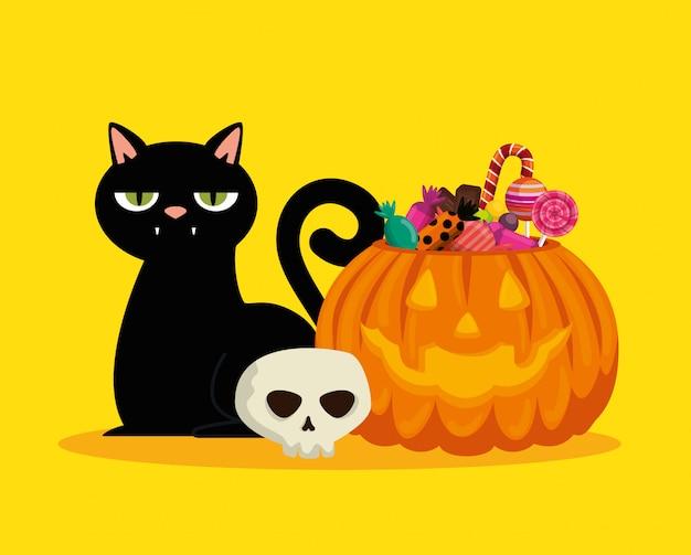 Halloween-kaart met pompoen en zwarte kat