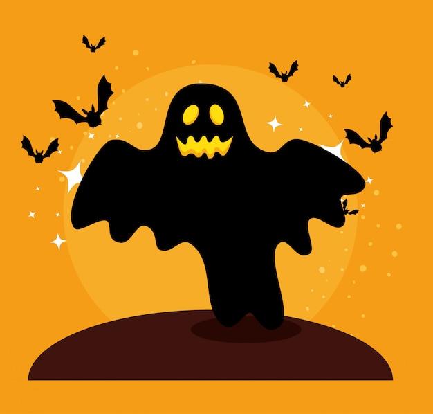 Halloween-kaart met spook en vleermuizen vliegen