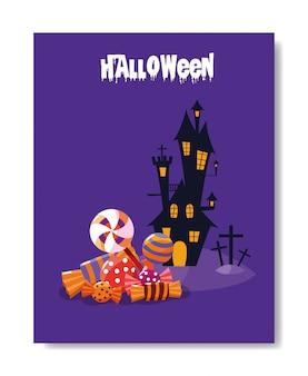 Halloween-kaart met spookkasteel