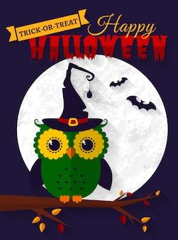Halloween-kaart met uil en vleermuizen.