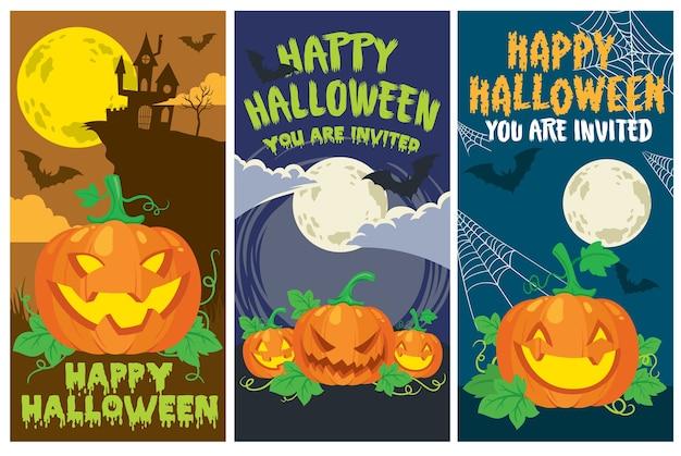 Halloween-kaart pompoenreeks