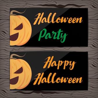 Halloween-kaart vectorontwerp op houten lijst.