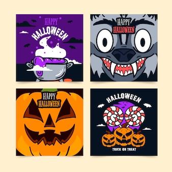 Halloween-kaartcollectie in plat ontwerp