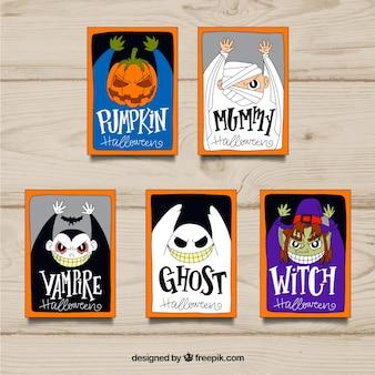 Halloween kaarten met griezelige kostuums