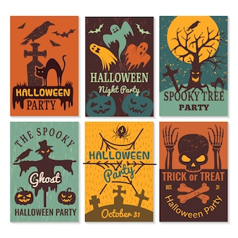 Halloween-kaarten. wenskaarten uitnodiging voor horror enge kwade halloween partij ontwerpsjabloon