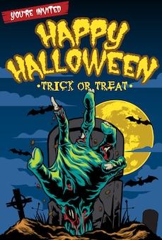 Halloween-kaartontwerp met zombiehand