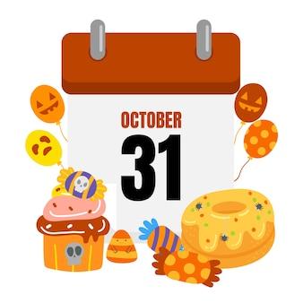 Halloween-kalender vector.
