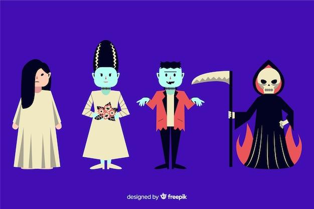 Halloween karakter collectie plat ontwerp