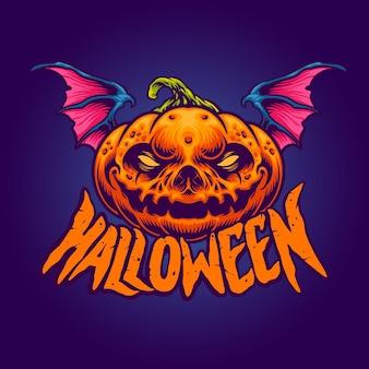 Halloween karakter het pompoenhoofd