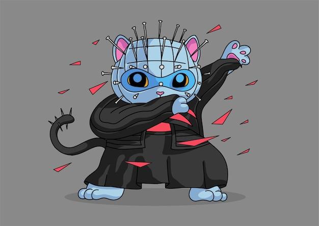 Halloween karakter mascotte kat deppen stijl