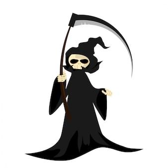 Halloween-karakter met onverbiddelijke maaimachine met zeis.