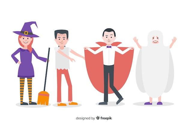 Halloween karakter pack plat ontwerp