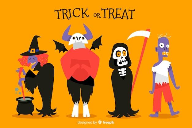 Halloween-karakterkostuum op oranje achtergrond