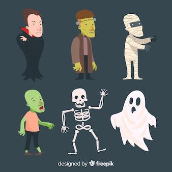 Halloween-karaktersinzameling in vlak ontwerp