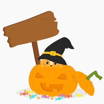 Halloween-kat binnen jack o lantern met een houten teken
