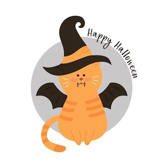 Halloween-kat die heksenhoed draagt tegen een volle maan met vampiervleermuizen.