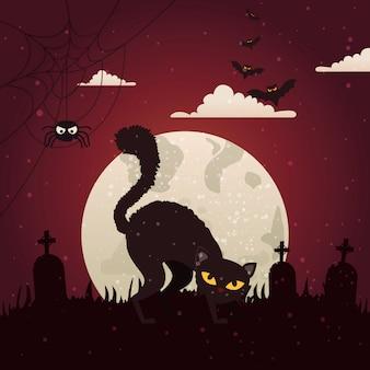 Halloween-kat met begraafplaats in donkere nacht