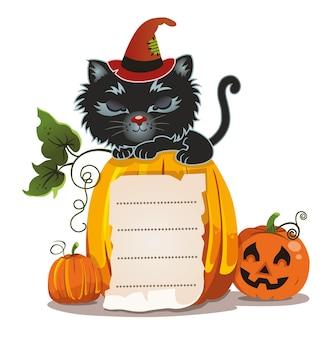 Halloween kat met pompoenen vectorillustratie
