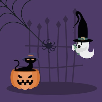 Halloween-kat op pompoen en spookontwerp, eng thema