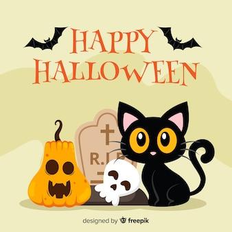 Halloween-kattenachtergrond in vlak ontwerp